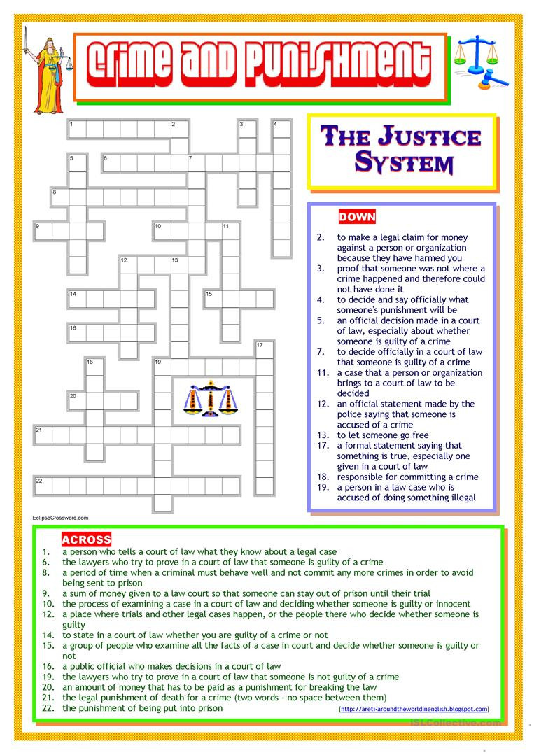 High School Criminal Justice Worksheets Crime and Punishment the Justice System English Esl