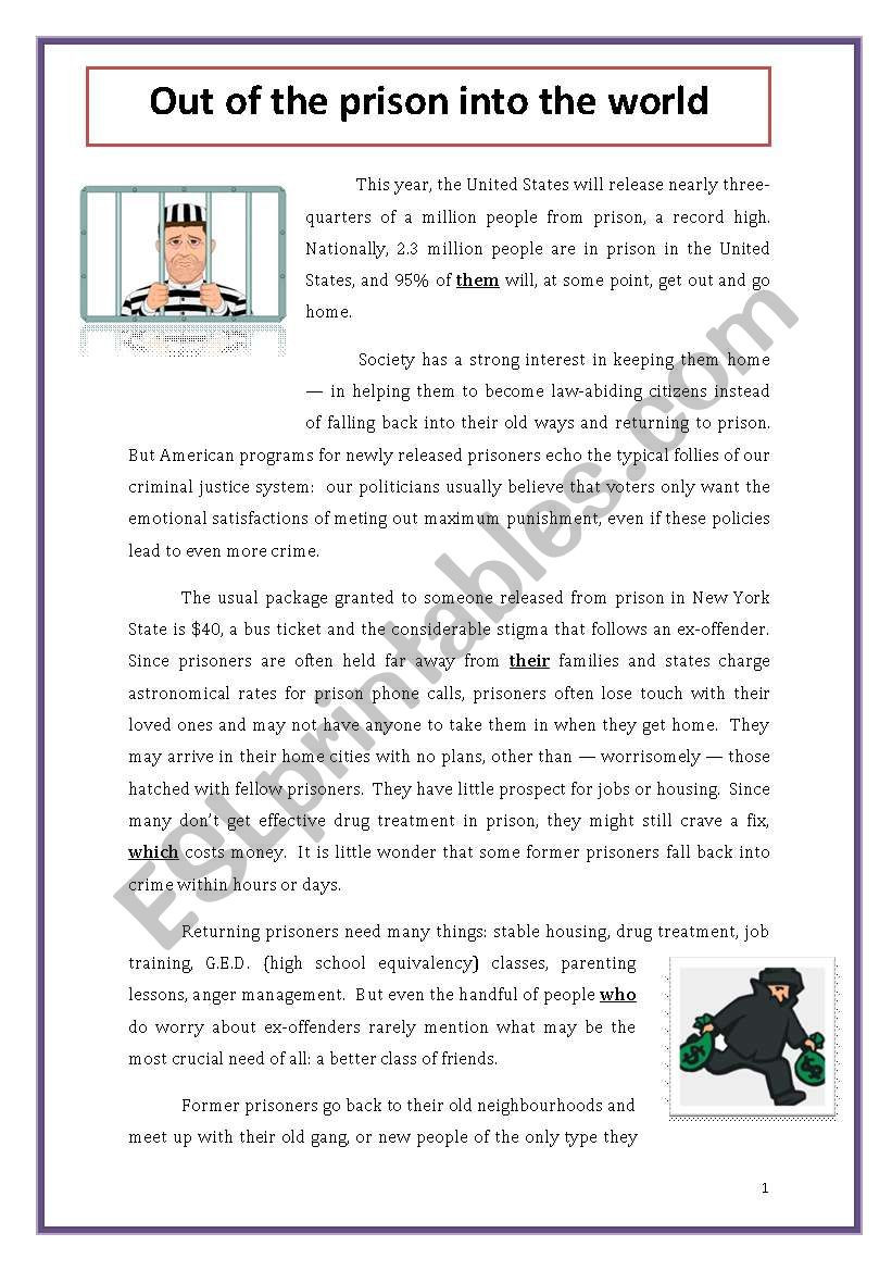 High School Criminal Justice Worksheets Out Of the Prison Into the World Esl Worksheet by