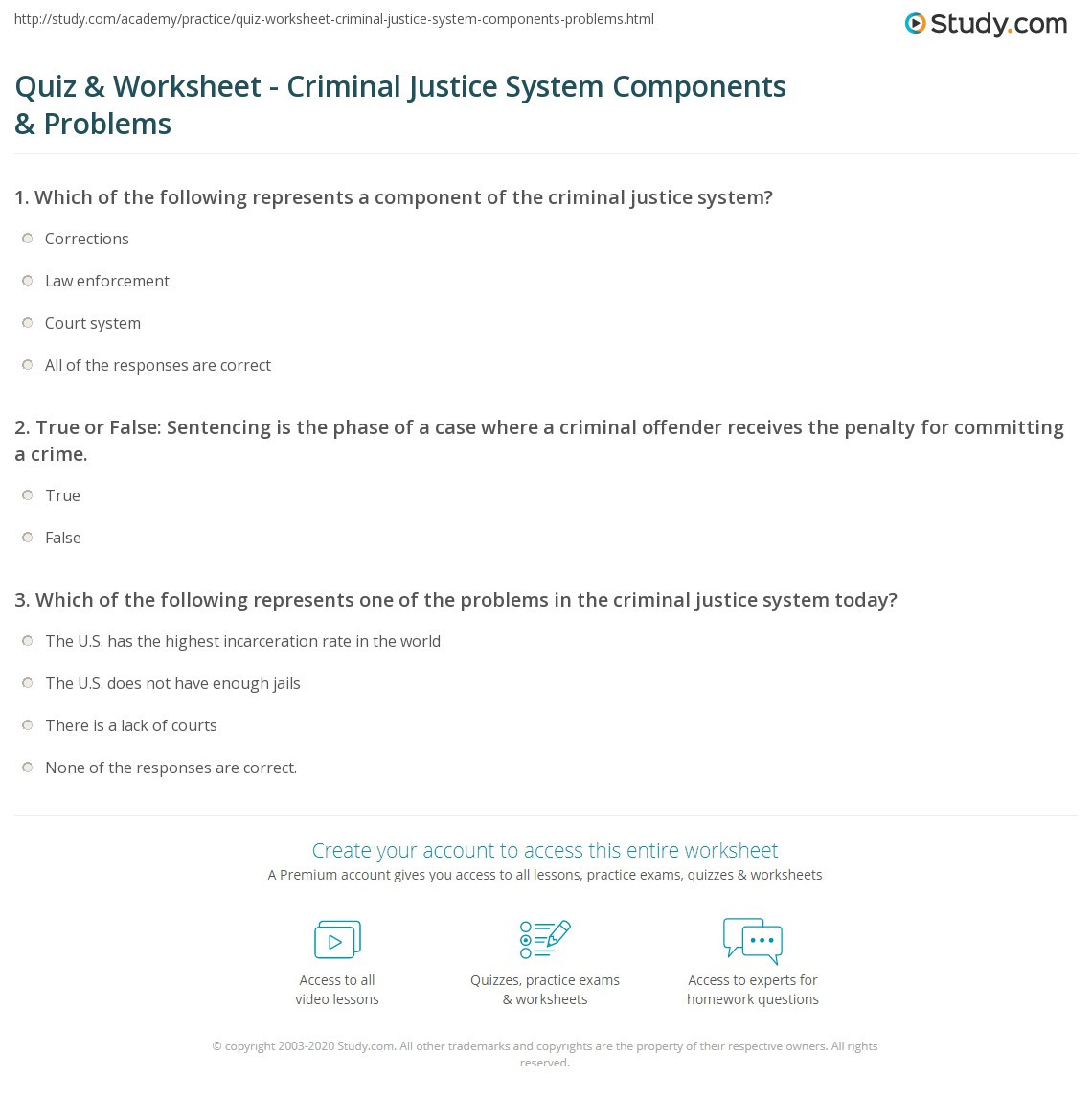 High School Criminal Justice Worksheets Quiz & Worksheet Criminal Justice System Ponents
