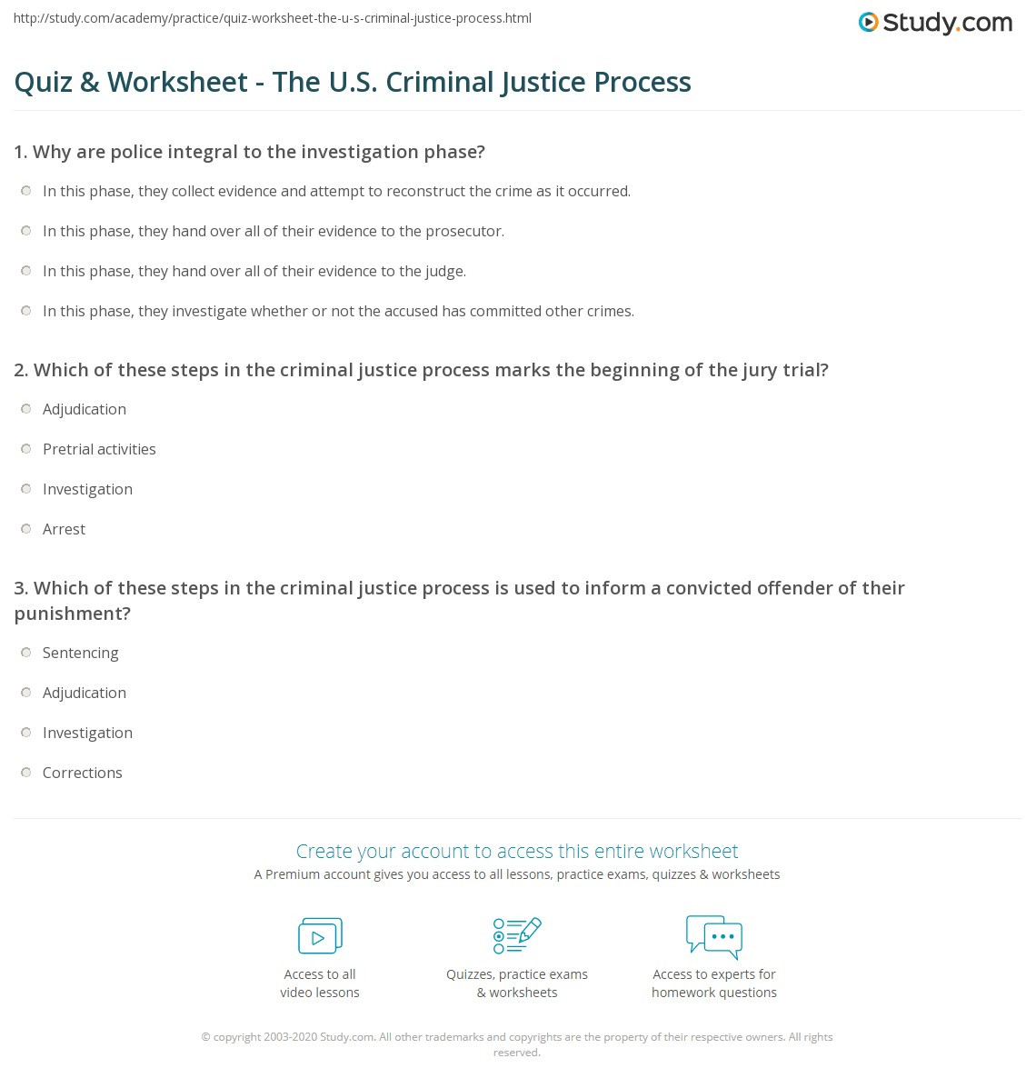 High School Criminal Justice Worksheets Quiz & Worksheet the U S Criminal Justice Process