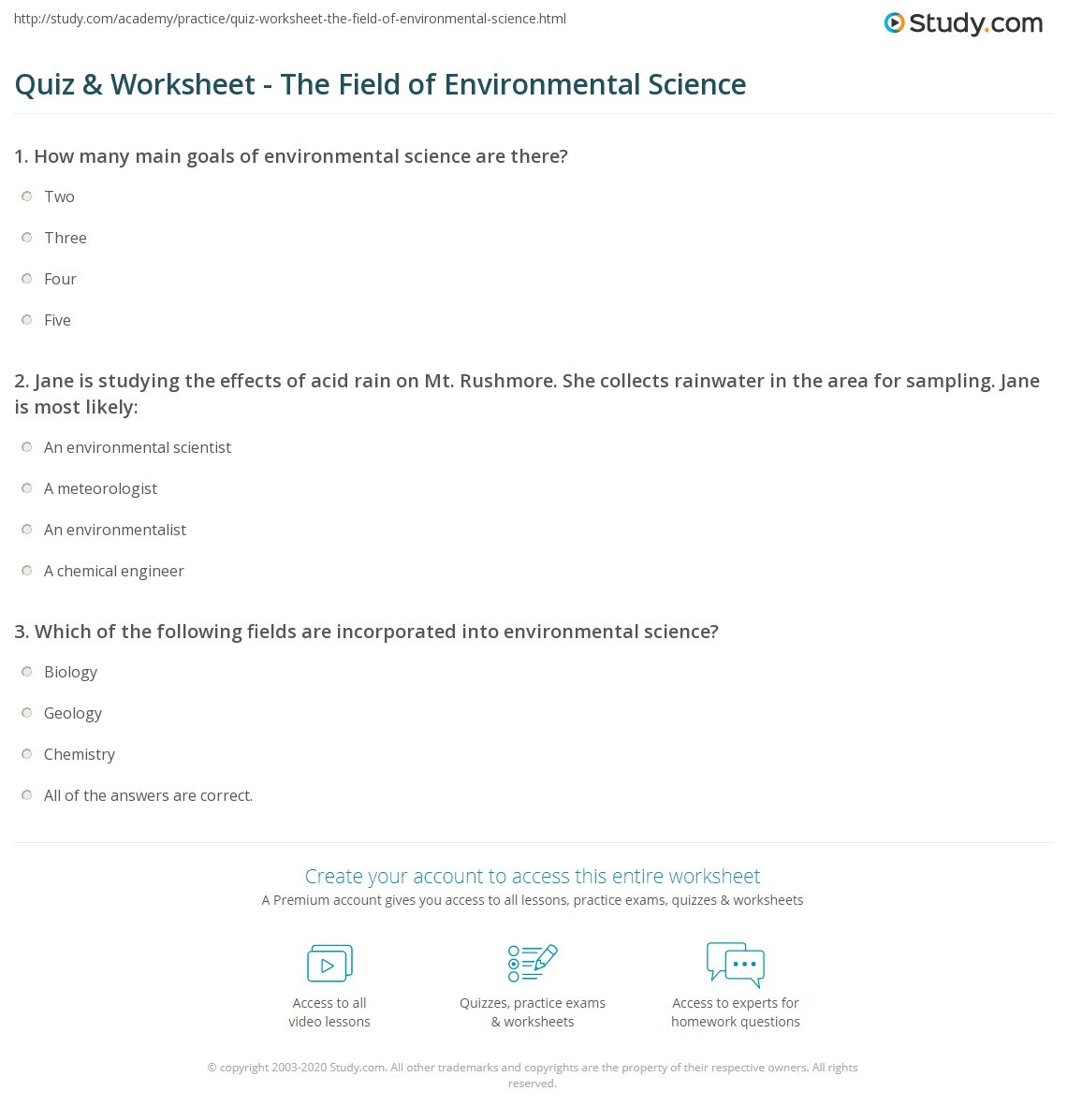 High School Environmental Science Worksheets Quiz & Worksheet the Field Of Environmental Science