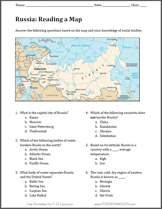 High School Geography Worksheets Russia Free Printable Map Worksheet