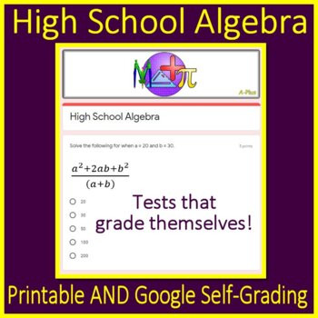 High School Test Prep Worksheets High School Algebra Test Prep Printable Self Grading Google Sat Act Gre