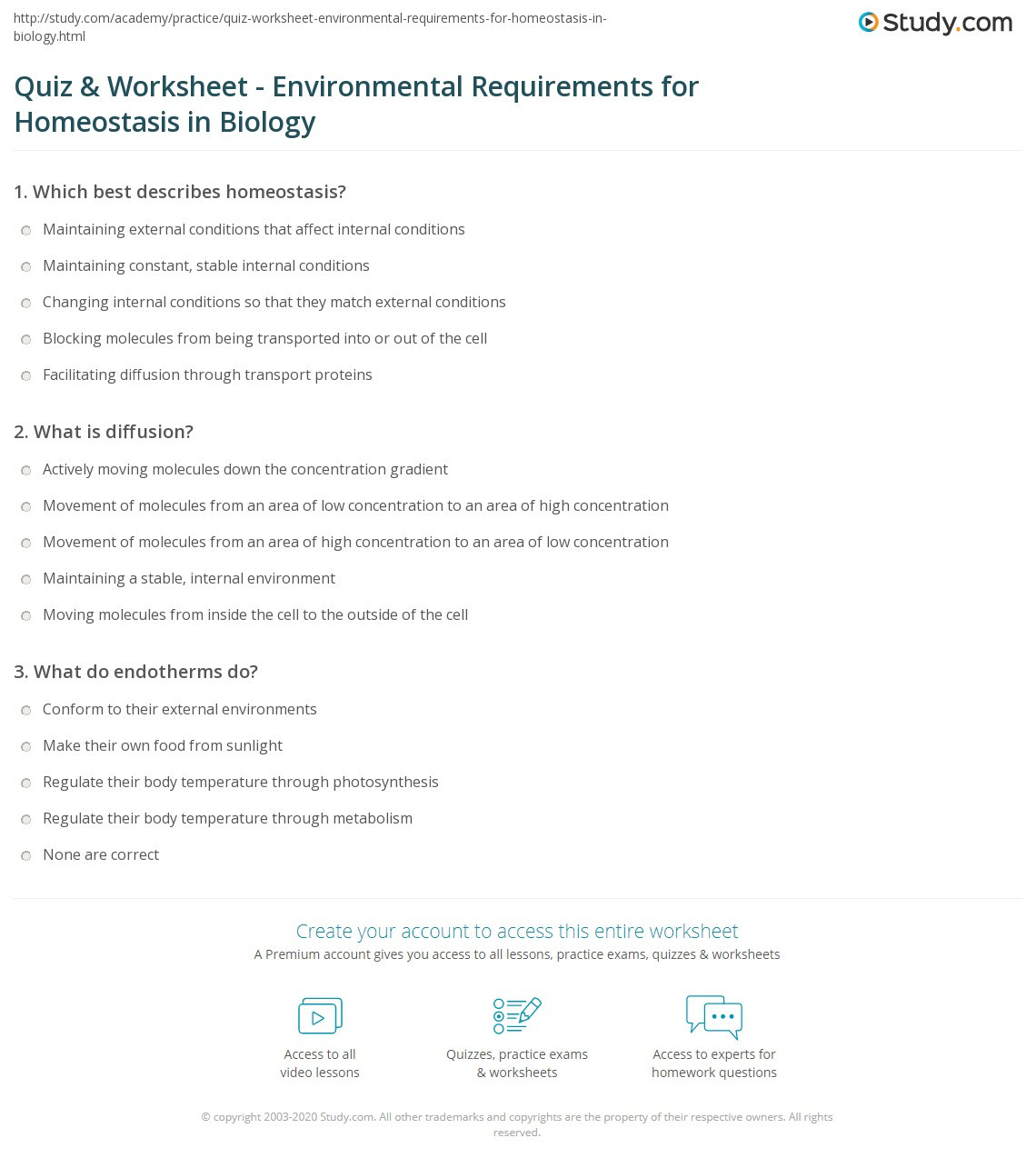 Homeostasis Worksheet High School Quiz & Worksheet Environmental Requirements for