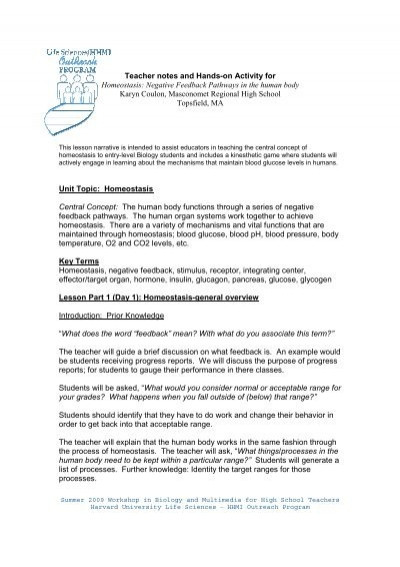 Homeostasis Worksheet High School Teacher Notes and Hands On Activity for Homeostasis