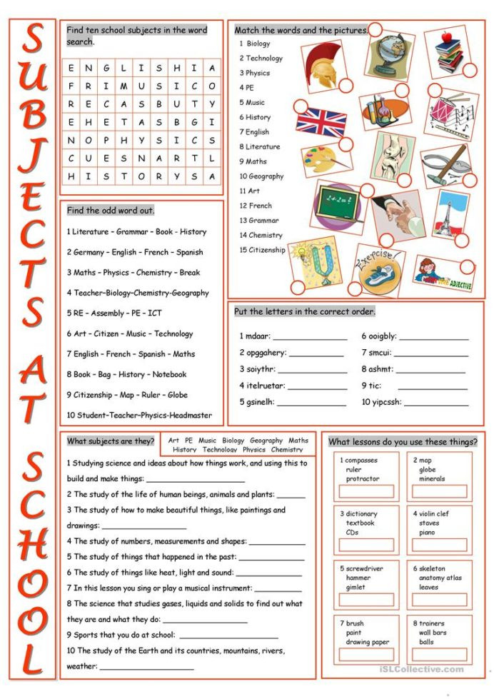 Icebreaker Worksheets for High School School Subjects Vocabulary Exercises English Esl Worksheets