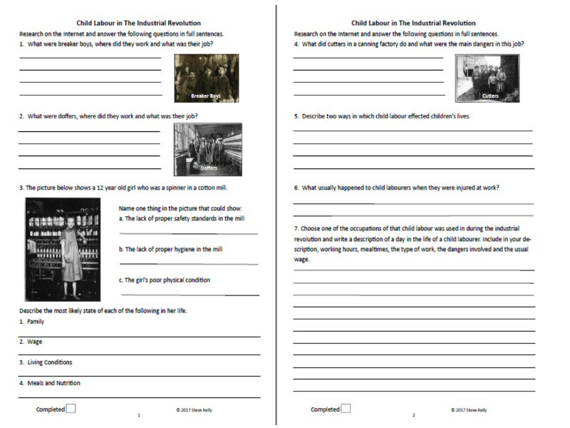 Industrial Revolution Worksheet High School Child Labour Research Worksheet Stage 5 History the Industrial Revolution