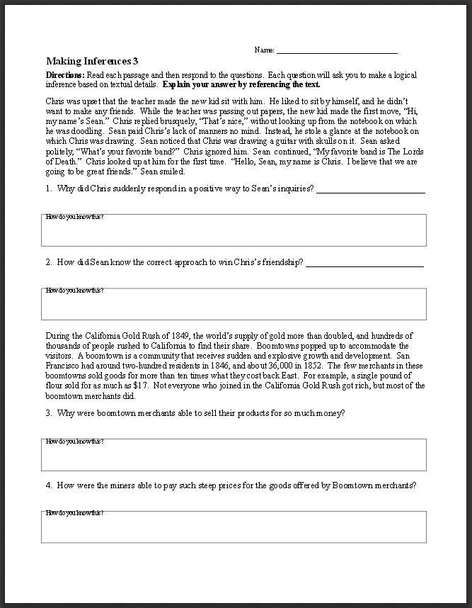 Inferences Worksheet High School Ereadingworksheets Free Reading Worksheets