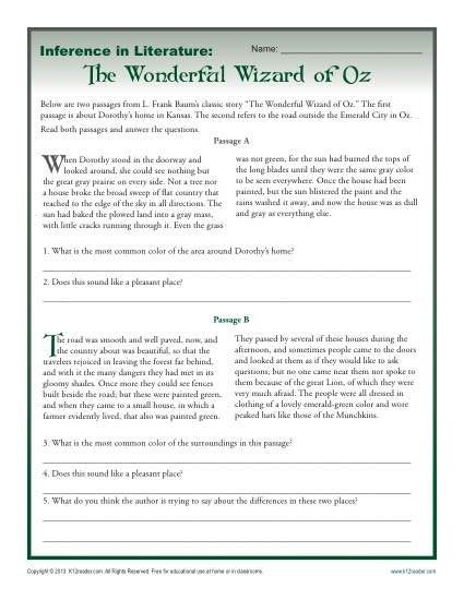 Inferences Worksheet High School Inference In Literature the Wizard Of Oz