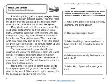Informational Text Worksheets 3rd Grade Plant Life Cycles
