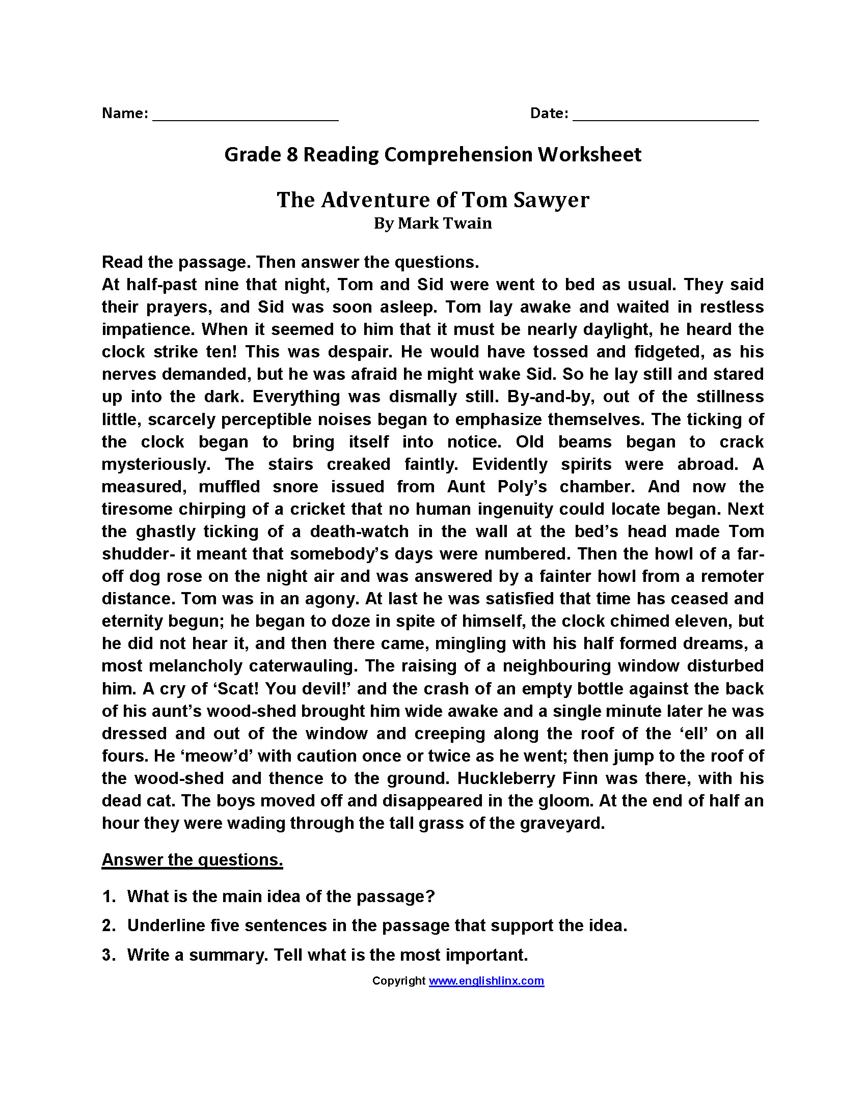 Informational Text Worksheets 8th Grade 8th Grade Independent Reading Worksheets