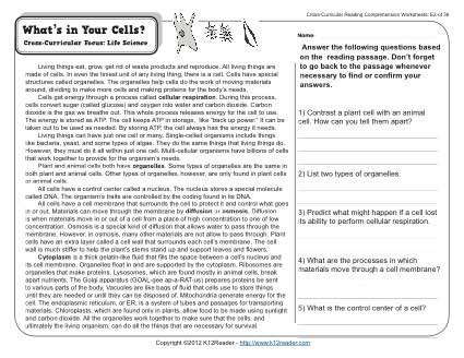 Informational Text Worksheets 8th Grade What S In Your Cells