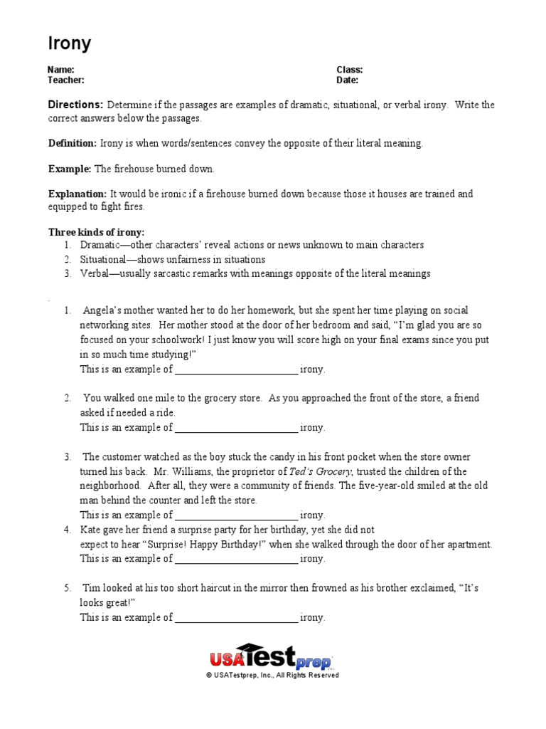 Irony Worksheet for High School Extra Credit 2 Irony Irony