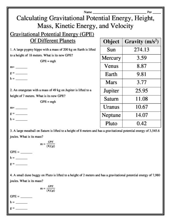 Kinetic Energy Worksheet High School Calculating Gravitational Potential Energy Height Mass Kinetic Energy and Velocity Worksheet