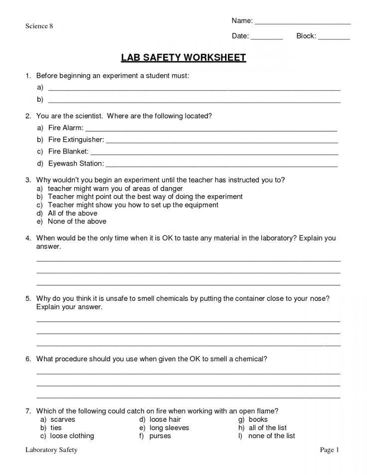 Lab Safety Worksheets High School High School Science Worksheets Life Science In 2020