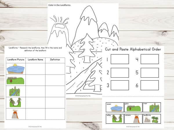 Landform Worksheets 3rd Grade Landforms Printable Pack