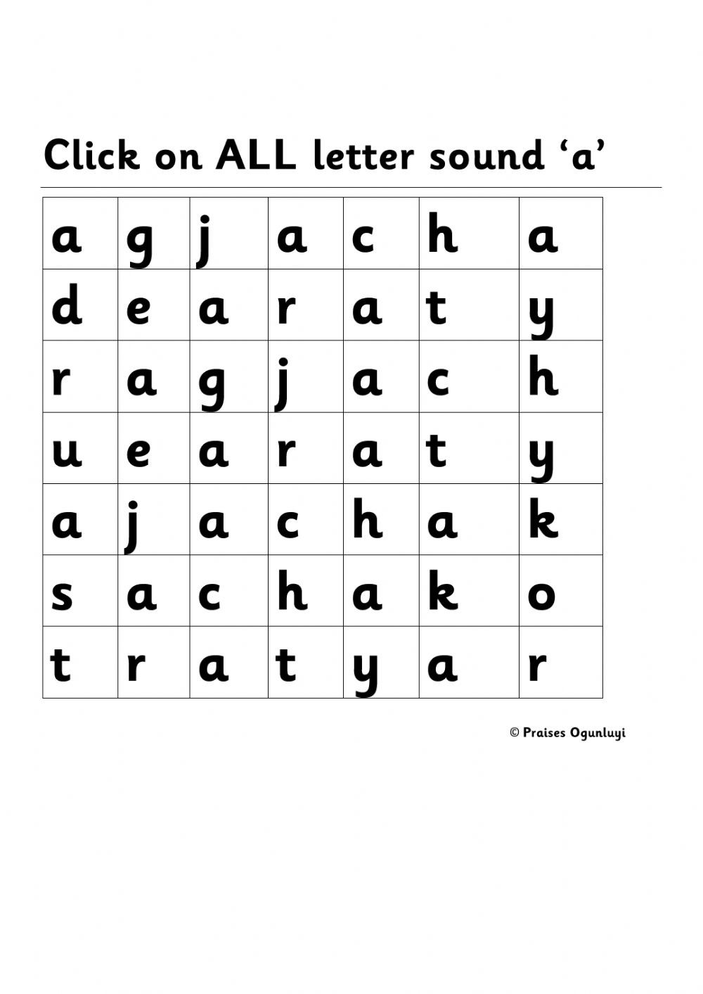 Letter A sound Worksheet Letter sound A Worksheet