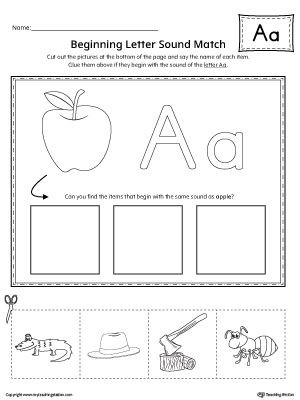 Letter A sound Worksheet Short Letter A Beginning sound Picture Match Worksheet
