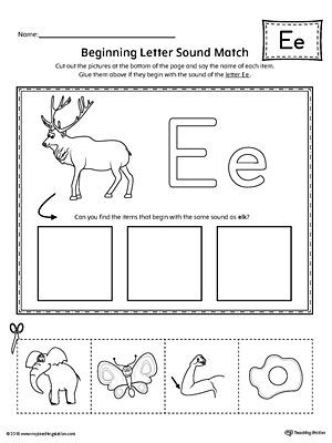 Letter A sound Worksheet Short Letter E Beginning sound Picture Match Worksheet