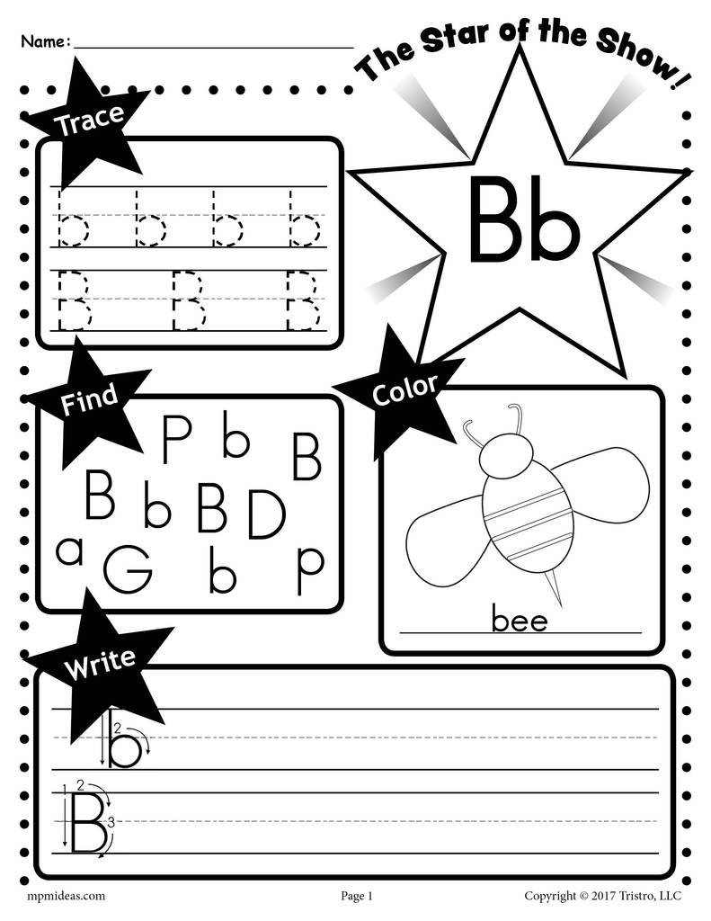 Letter B Worksheets Preschool Letter B Worksheet Tracing Coloring Writing & More