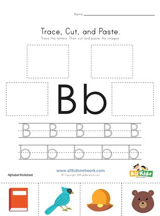 Letter B Worksheets Preschool Trace Cut and Paste Letter B Worksheet