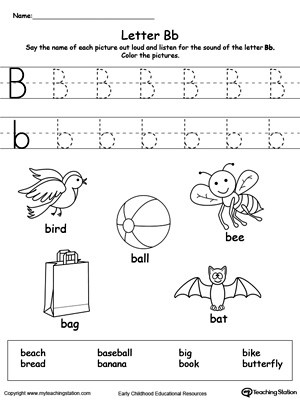 Letter B Worksheets Preschool Words Starting with Letter B