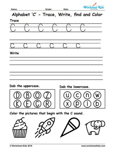 Letter C Worksheet for Kindergarten Alphabet Letter C Trace Write Find Color Free Printable Pdf