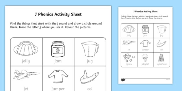 Letter J Phonics Worksheets J Phonics Worksheet