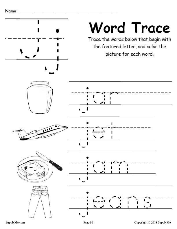 Letter J Phonics Worksheets Letter J Words Alphabet Tracing Worksheet