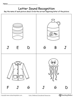 Letter J Phonics Worksheets Recognize the sound Of the Letter J