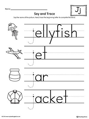 Letter J Printable Worksheets Say and Trace Letter J Beginning sound Words Worksheet