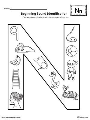 Letter N Preschool Worksheet Letter N Beginning sound Color Worksheet