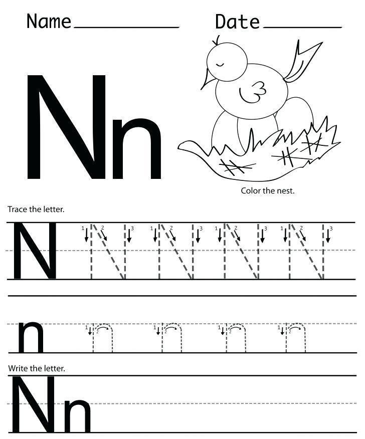 letter n worksheets foreschool freeintable kindergarten them and try to solve tracing