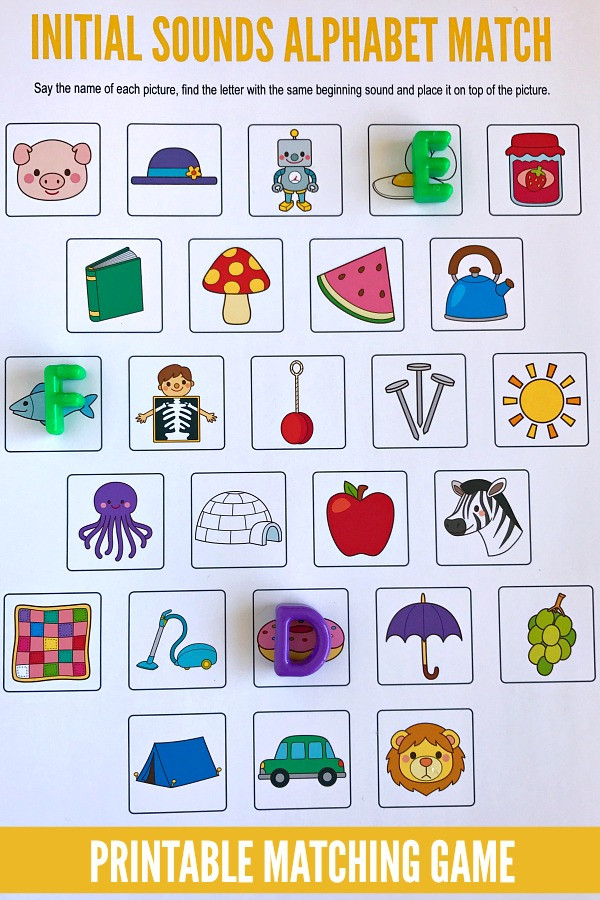 Letter sound Matching Worksheets Beginning sounds Alphabet Matching Game