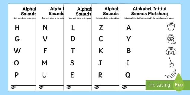 Letter sound Matching Worksheets Free Alphabet Initial sounds Matching Worksheet