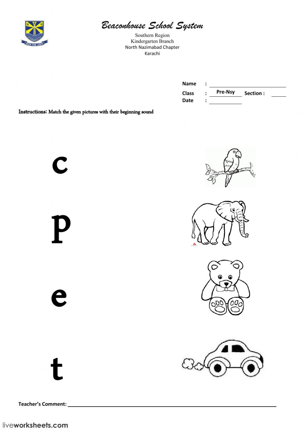 Letter sound Matching Worksheets Match the Letter sound with Correct Pictures Worksheet