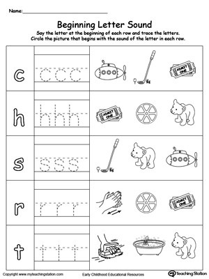 Letter sound Matching Worksheets Trace and Match Beginning Letter sound at Words