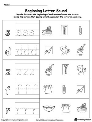 Trace And Match Beginning Letter Sound IP Words Worksheet