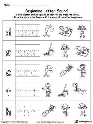 Trace And Match Beginning Letter Sound OP Words Worksheet