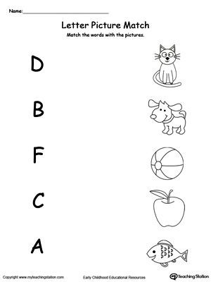 Letter sound Matching Worksheets Uppercase Beginning Letter sound D B F C A