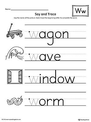 Say and Trace Letter W Beginning Sound Words Worksheet