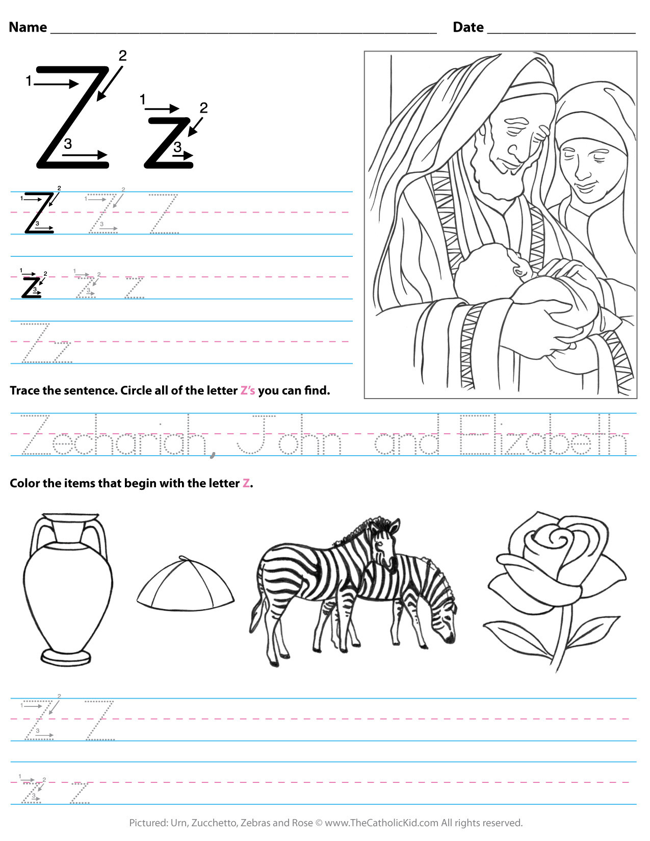 catholic alphabet letter z worksheet preschool kindergarten cnt mls