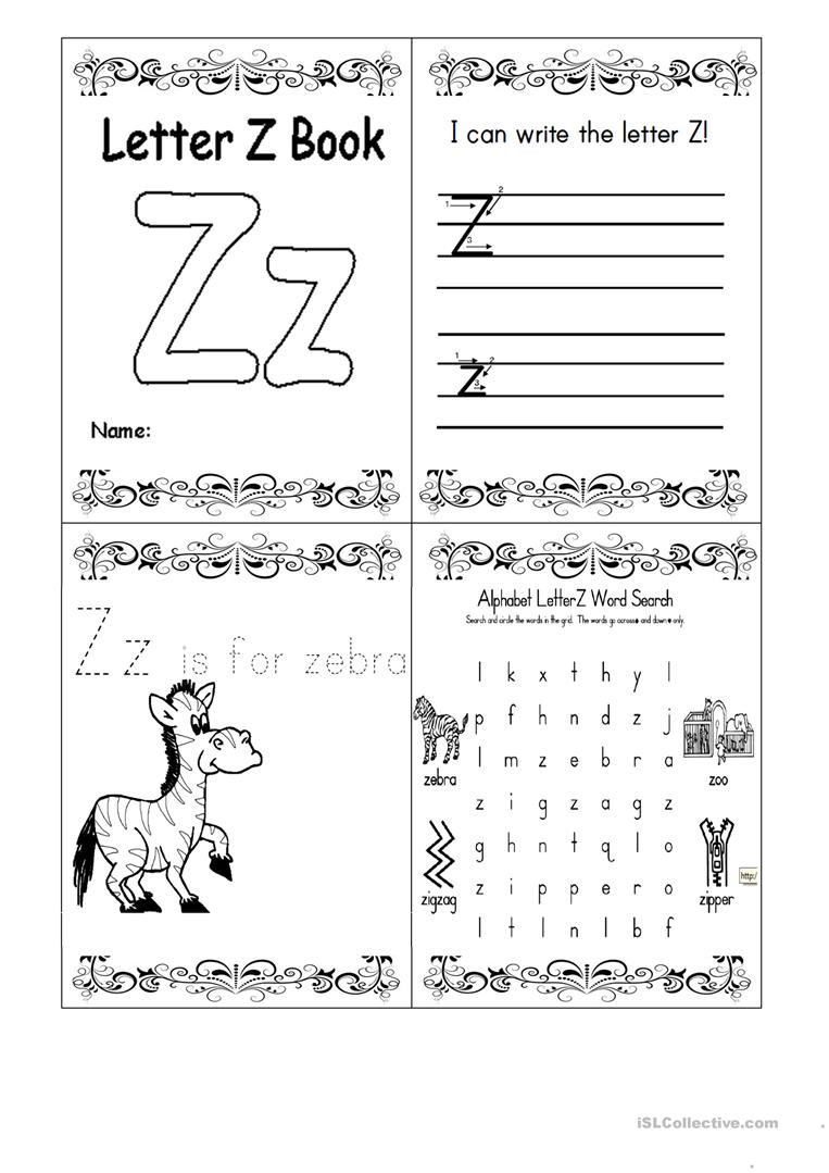 letter z booklet fun activities games 1