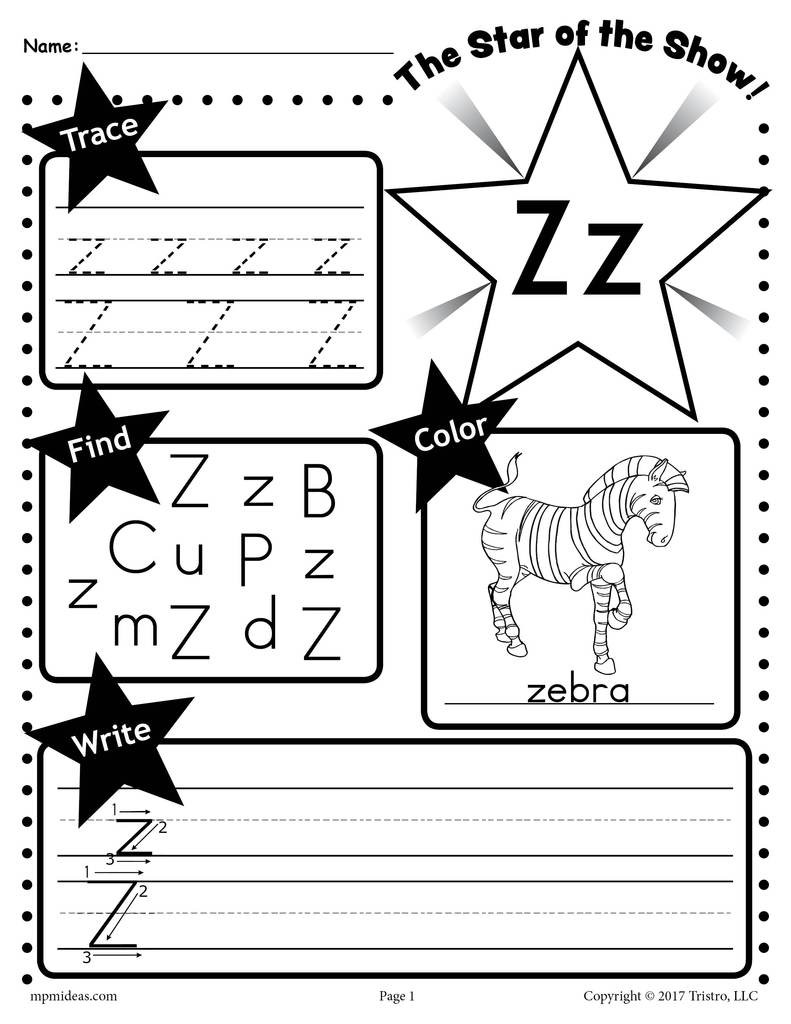 Z 20 20Star 20of 20the 20show 20Letter 20worksheet 1024x1024
