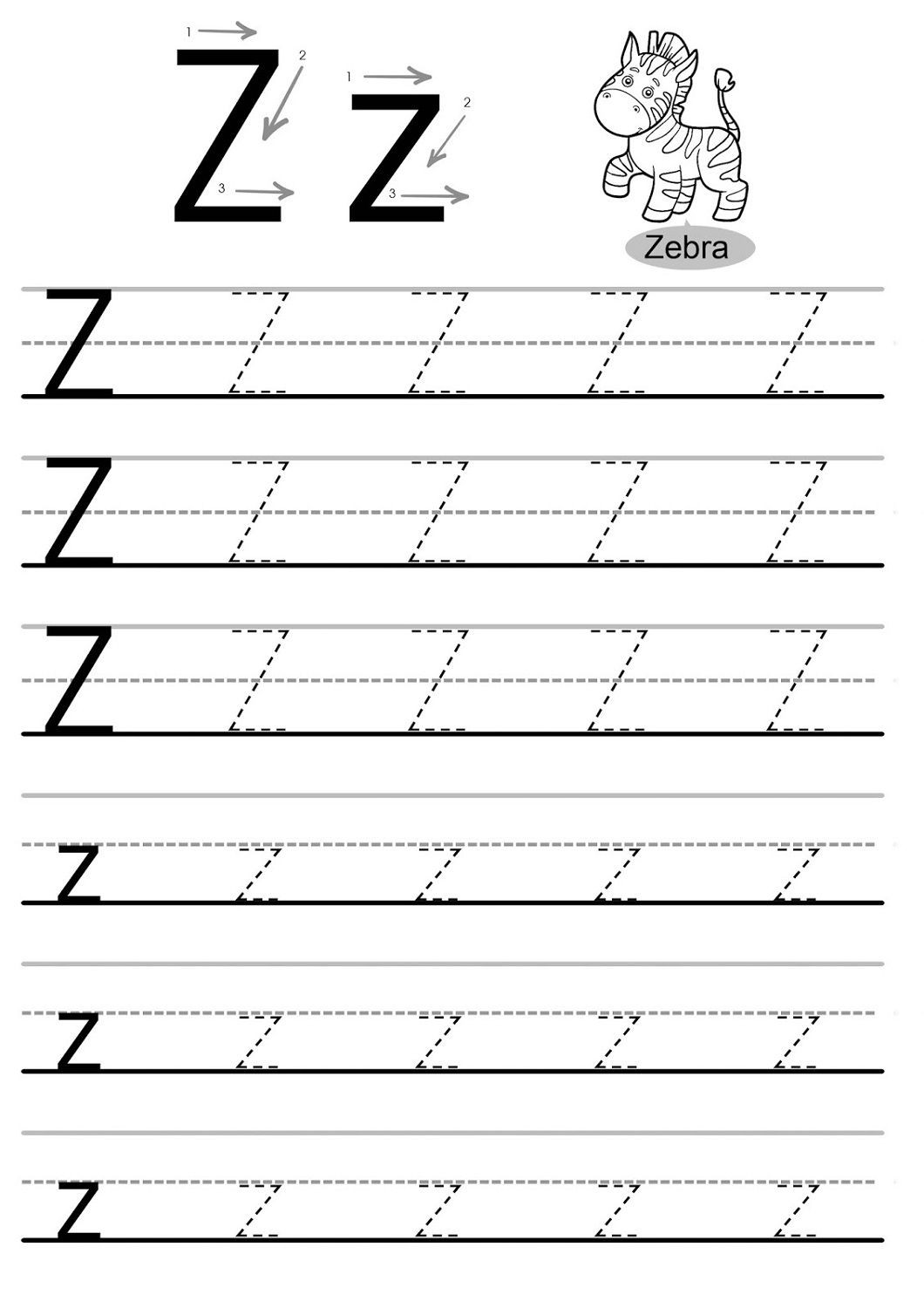 Letter Z Worksheets for Kindergarten Letter Z Worksheets Kids Learning Activity