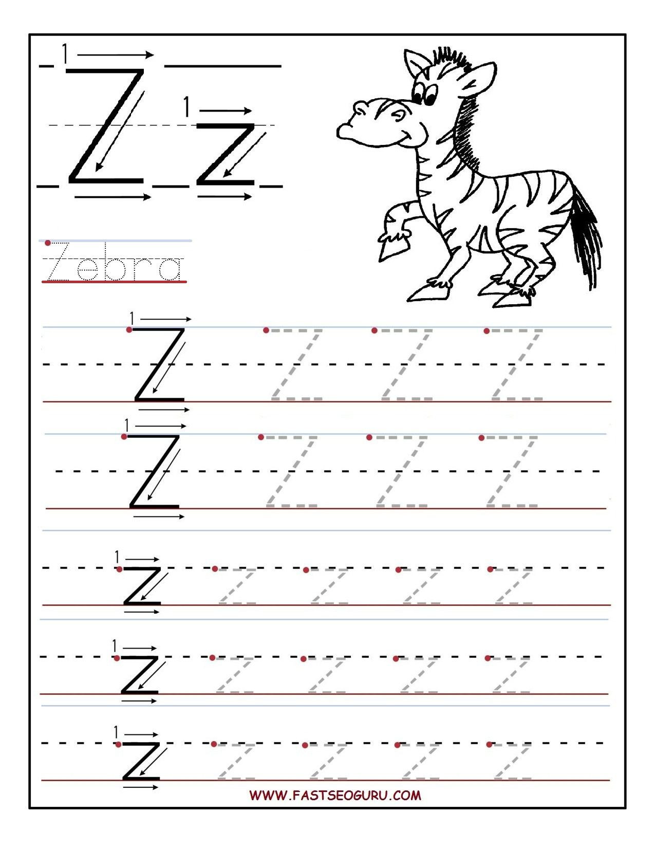Letter Z Worksheets for Kindergarten Printable Letter Z Tracing Worksheets for Preschool