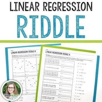 Linear Regression Worksheet High School Linear Regression Riddle Activity
