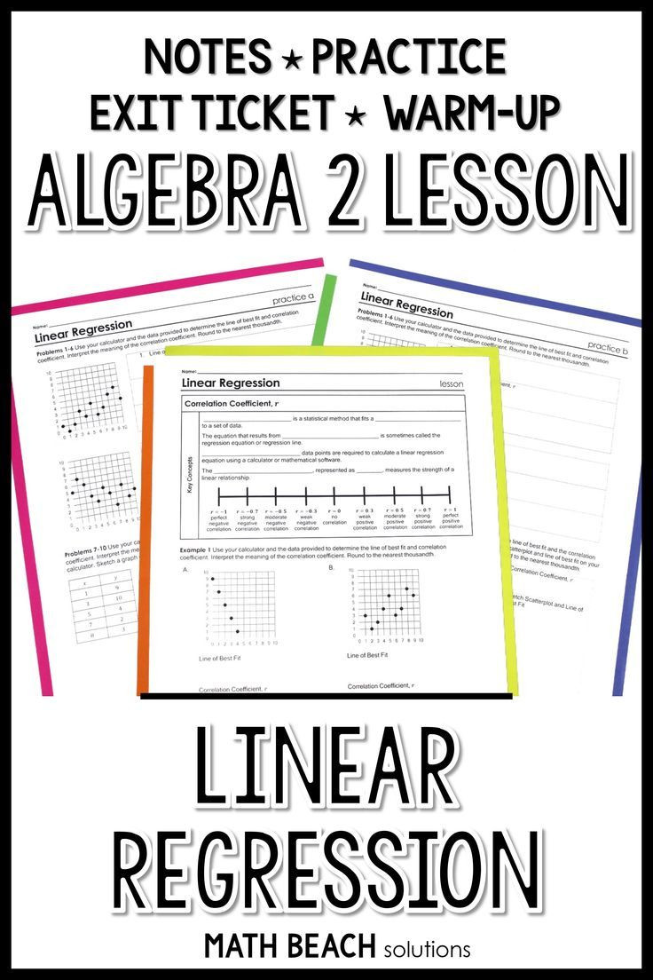 Linear Regression Worksheet High School Linear Regression with Correlation Coefficient Lesson In