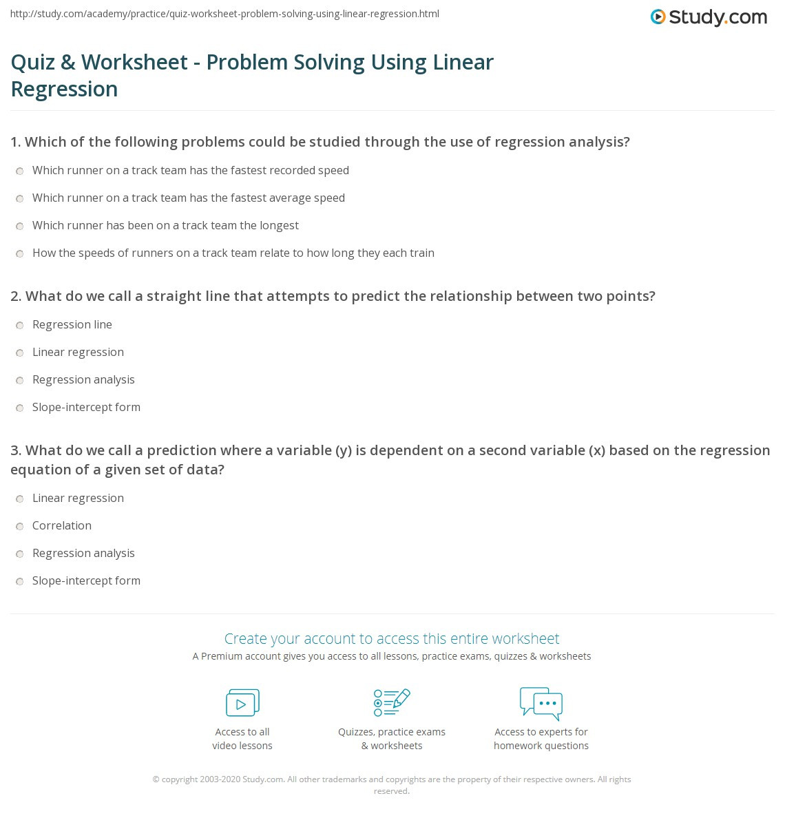Linear Regression Worksheet High School Quiz & Worksheet Problem solving Using Linear Regression