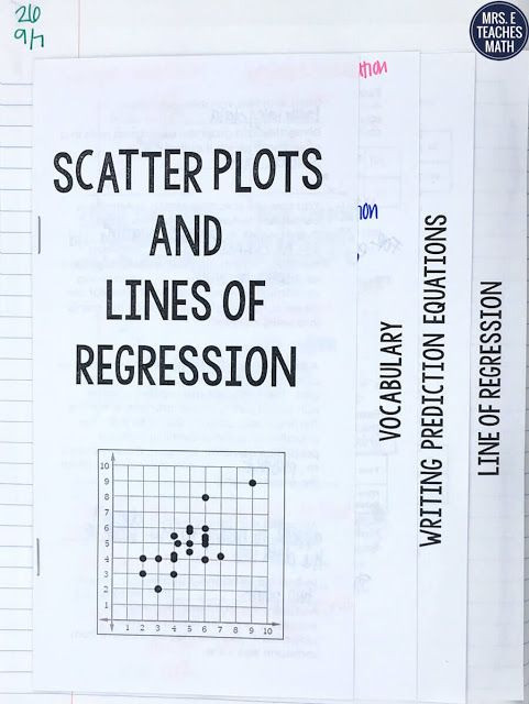 Linear Regression Worksheet High School Scatter Plots and Linear Regression Inb Pages